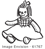 #61767 Clipart Of Doll In Black And White - Royalty Free Vector Illustration