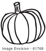 #61768 Clipart Of A Pumpkin In Black And White - Royalty Free Vector Illustration