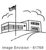#61769 Clipart Of A Flag And School Building In Black And White - Royalty Free Vector Illustration