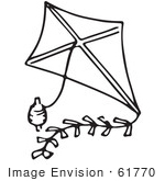 #61770 Clipart Of A Kite And String In Black And White - Royalty Free Vector Illustration