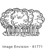 #61771 Clipart Of Trees In A Forest In Black And White - Royalty Free Vector Illustration