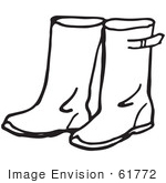 #61772 Clipart Of A Pair Of Rain Boots In Black And White - Royalty Free Vector Illustration
