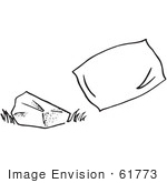 #61773 Clipart Of A Rock And Pillow In Black And White - Royalty Free Vector Illustration