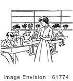 #61774 Clipart Of A Retro Teacher Watching Children Write In Class In Black And White - Royalty Free Vector Illustration