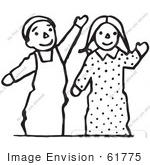 #61775 Clipart Of Doll In Black And White - Royalty Free Vector Illustration