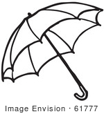 #61777 Clipart Of An Umbrella In Black And White 2 - Royalty Free Vector Illustration