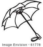 #61778 Clipart Of An Umbrella In Black And White - Royalty Free Vector Illustration