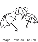 #61779 Clipart Of Umbrellas In Black And White - Royalty Free Vector Illustration
