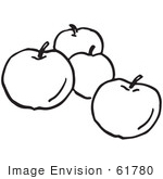 #61780 Clipart Of Apples In Black And White - Royalty Free Vector Illustration