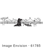#61785 Clipart Of A Horse And Cowboys At The Fairgrounds In Black And White - Royalty Free Vector Illustration