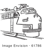 #61786 Clipart Of A Train Engineer Blowing The Horn In Black And White - Royalty Free Vector Illustration