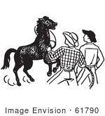 #61790 Clipart Of Cowboys Training A Horse In Black And White - Royalty Free Vector Illustration