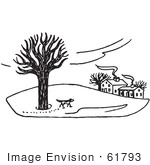 #61793 Clipart Of A Dog Exploring Property In The Winter In Black And White - Royalty Free Vector Illustration