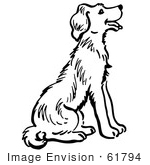 #61794 Clipart Of A Happy Sitting Dog In Black And White - Royalty Free Vector Illustration by JVPD