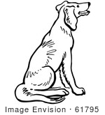 #61795 Clipart Of A Happy Sitting Dog In Black And White - Royalty Free Vector Illustration