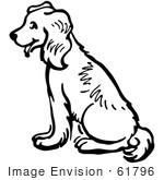 #61796 Clipart Of A Happy Sitting Dog In Black And White - Royalty Free Vector Illustration by JVPD