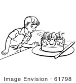 #61798 Clipart Of A Retro Boy Blowing Out Birthday Cake Candles In Black And White - Royalty Free Vector Illustration