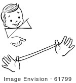 #61799 Clipart Of A Happy Retro Boy Watching A Loop The Loop Magic Trick In Black And White - Royalty Free Vector Illustration
