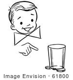 #61800 Clipart Of A Happy Retro Boy Performing A Moving Coin And Cup Magic Trick In Black And White - Royalty Free Vector Illustration