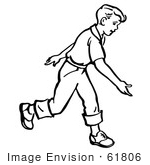 #61806 Clipart Of A Retro Boy After Releasing A Bowling Ball In Black And White - Royalty Free Vector Illustration