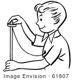 #61807 Clipart Of A Happy Retro Magician Boy Performing A Rising Ring Trick In Black And White - Royalty Free Vector Illustration