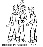 #61809 Clipart Of Retro Boys Talking And Waving In Black And White - Royalty Free Vector Illustration by JVPD