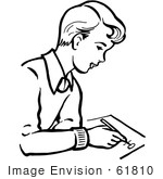 #61810 Clipart Of A Retro Boy Writing In Black And White - Royalty Free Vector Illustration by JVPD