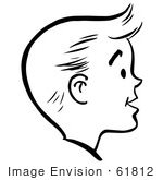 #61812 Clipart Of A Happy Retro Boy Face In Profile, In Black And White - Royalty Free Vector Illustration by JVPD