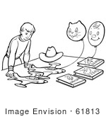 #61813 Clipart Of A Retro Boy Playing With Planes Books And Balloons In Black And White - Royalty Free Vector Illustration