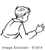 #61814 Clipart Of A Retro Boy Trying To Stop An Action In Black And White - Royalty Free Vector Illustration