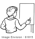 #61815 Clipart Of A Retro Boy By An Easel In Black And White - Royalty Free Vector Illustration
