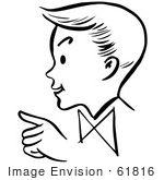 #61816 Clipart Of A Pointing Retro Boy In Profile In Black And White - Royalty Free Vector Illustration