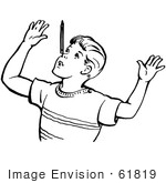 #61819 Clipart Of A Retro Boy Throwing Up His Arms In Black And White - Royalty Free Vector Illustration