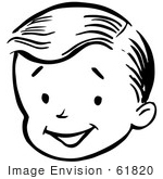 #61820 Clipart Of A Happy Retro Boy Face In Black And White - Royalty Free Vector Illustration by JVPD