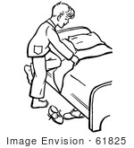 #61825 Clipart Of A Retro Boy Climbing Into Bed In Black And White - Royalty Free Vector Illustration by JVPD