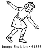 #61836 Clipart Of A Retro Girl After Releasing A Bowling Ball In Black And White - Royalty Free Vector Illustration by JVPD