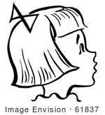 #61837 Clipart Of A Happy Retro Girl In Profile In Black And White - Royalty Free Vector Illustration