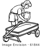 #61844 Clipart Of A Retro Girl Putting A Bag In A Wagon In Black And White - Royalty Free Vector Illustration