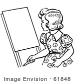 #61848 Clipart Of A Retro Girl Looking At An Easel In Black And White - Royalty Free Vector Illustration