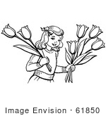#61850 Clipart Of A Retro Girl Holding Tulip Flowers In Black And White - Royalty Free Vector Illustration by JVPD