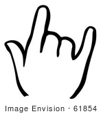 #61854 Clipart Of A Shaka Hand In Black And White - Royalty Free Vector Illustration