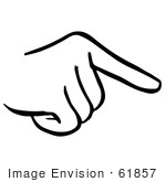 #61857 Clipart Of A Pointing Hand In Black And White - Royalty Free Vector Illustration