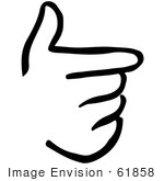 #61858 Clipart Of A Pointing Hand In Black And White - Royalty Free Vector Illustration