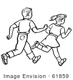 #61859 Clipart Of A Retro Boy And Girl Running In Black And White - Royalty Free Vector Illustration by JVPD