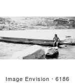 #6186 Celilo Native With Canoe