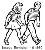 #61860 Clipart Of A Retro Boy And Girl Walking In Black And White - Royalty Free Vector Illustration by JVPD
