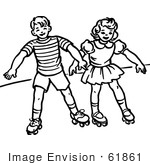 #61861 Clipart Of A Retro Boy And Girl Roller Skating In Black And White - Royalty Free Vector Illustration by JVPD