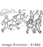 #61862 Clipart Of Retro Boys And Girls Running And Walking In A Park In Black And White - Royalty Free Vector Illustration by JVPD