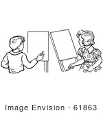 #61863 Clipart Of A Retro Boy And Girl With Art Easels In Black And White - Royalty Free Vector Illustration