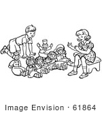 #61864 Clipart Of A Retro Boy And Girl Playing With Dolls In Black And White - Royalty Free Vector Illustration